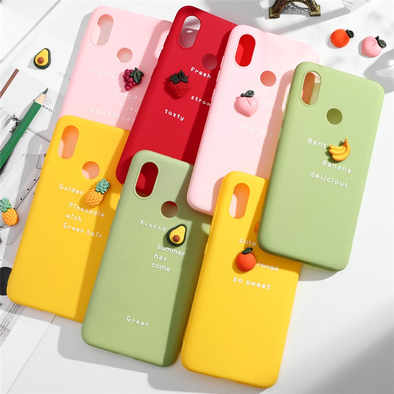 3D fruta de aguacate funda de silicona para TPU Xiaomi Redmi Note 8T 8 7 6 5 4X Pro 7 7A 8A S2 K20 Pro 6 6A 5A 5 Plus 4A Color mate caso