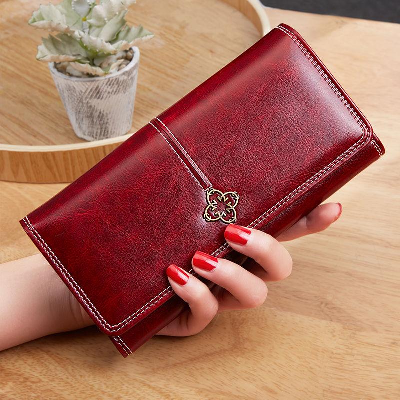 New Women's Wallet Wax oil skin wallet portfel damski Lady Long Leather Clutch Bag Wallet Card Holder carteira feminina