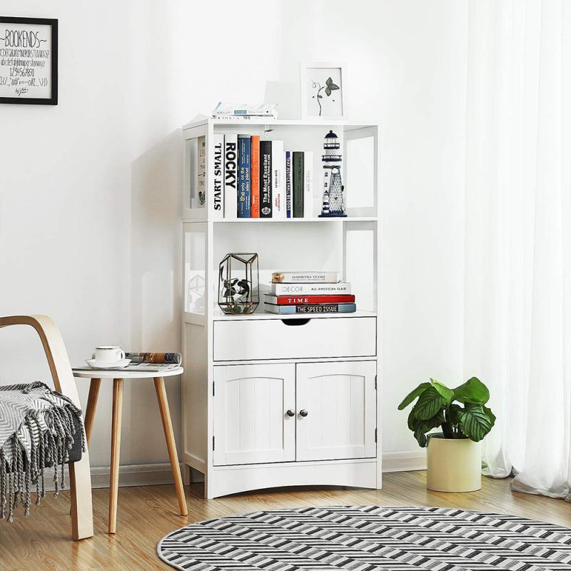 3-layer Shelf Storage Cabinet Double Door Storage Holders With Drawer Kitchen Sundries Organizer Racks Bathroom Vanity HWC