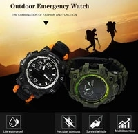 outdoor military survival watch multi function compass luminous waterproof digital emergency watch camping mountain first aids