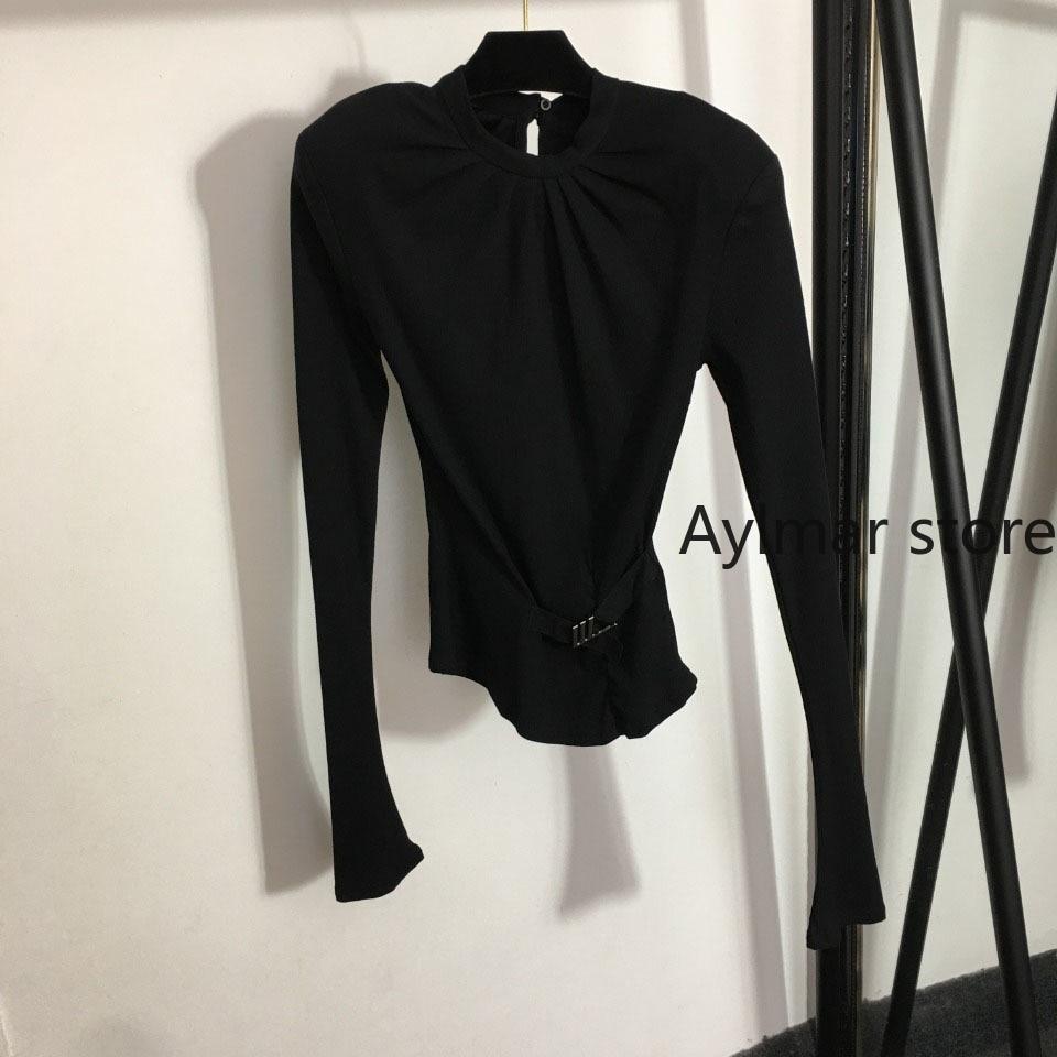High quality 2021 autumn winter new temperament women's top metal Button Waist fold round neck long sleeve bottomed shirt enlarge