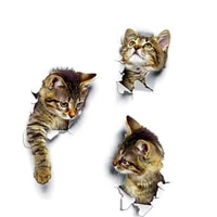 cute 3d cat wall art sticker home decoration bathroom wall stickers toilet cover stickers