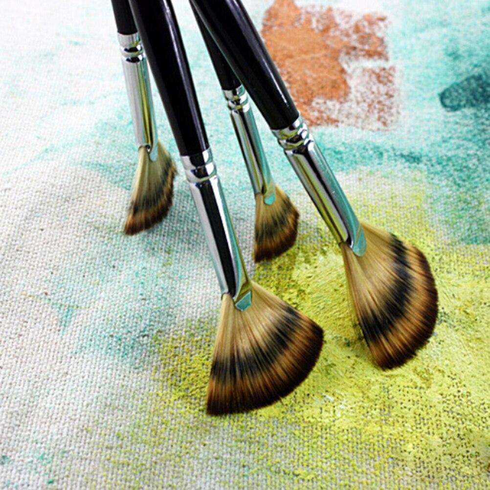 1PC 15/17/21/27/33/40mm Fine Hand Fan Shape Painting Pen Artist Oil Painting Brushes Art For Supplies Multifunctional BRUSH Pen