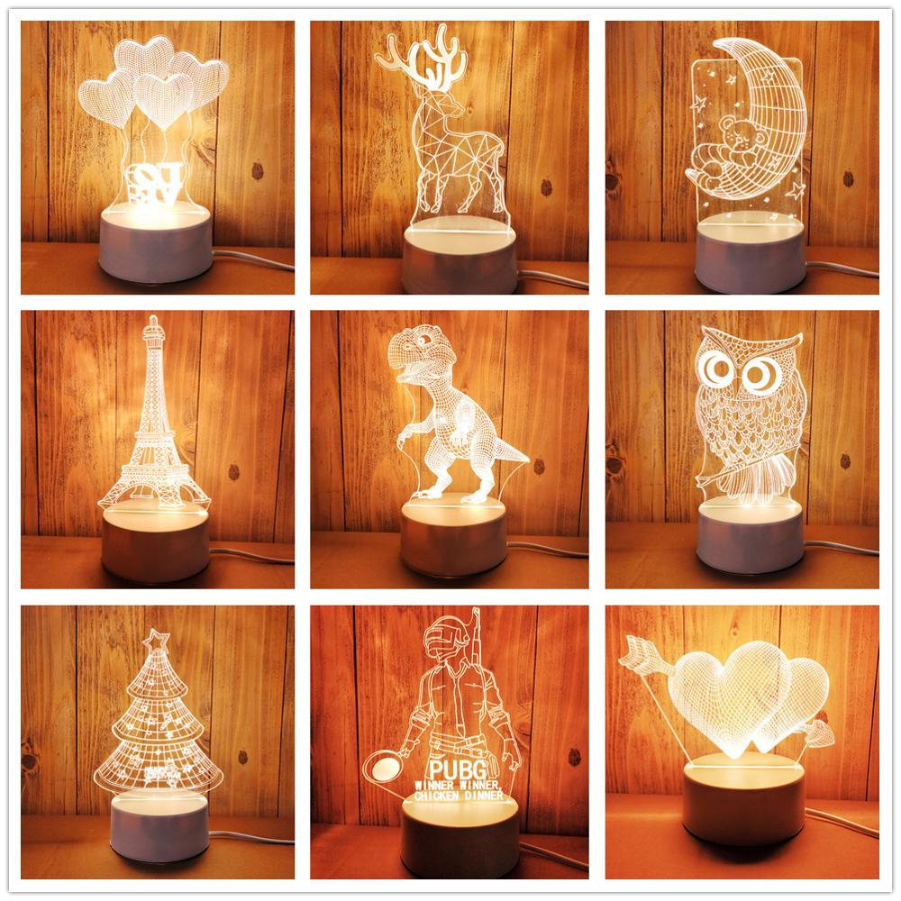Creative 3D LED Night Lights Novelty Illusion usb 3D Illusion Table Lamp Warm White Light Heart Owl