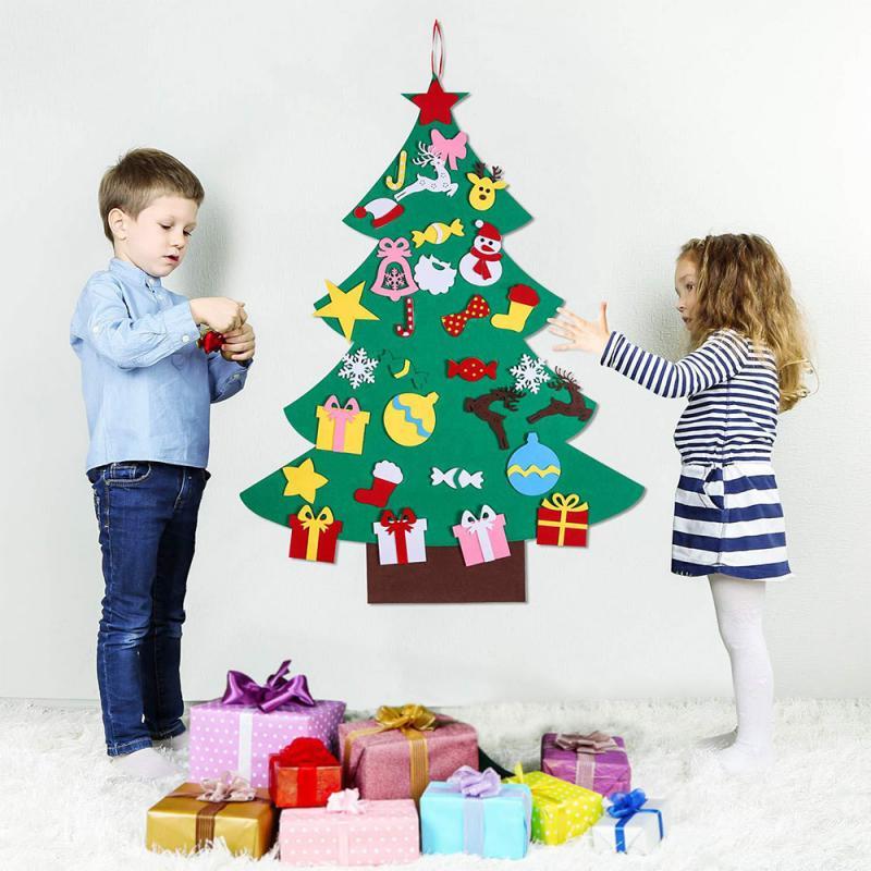Feltro árvore de natal crianças diy puzzle manual decorações de natal para diy natal festa suprimentos presentes
