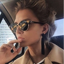 Vintage Round Rivet Sunglasses Women Brand Designer Eyewear UV400 Semi-Rimless Female Retro Sun Glas