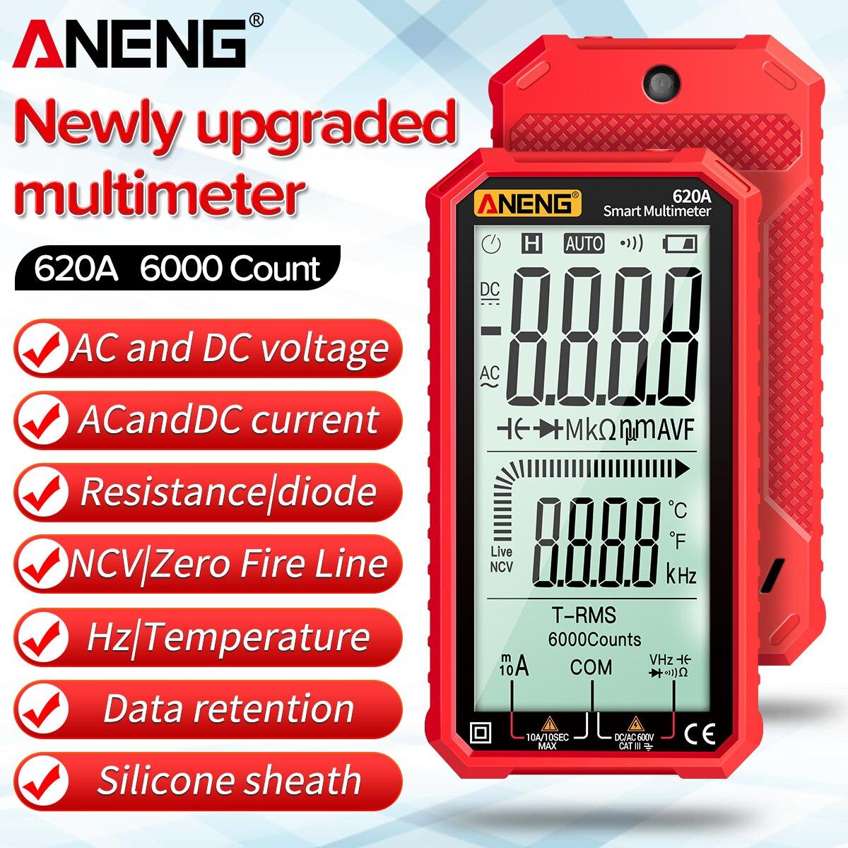 ANENG 4.7 بوصة شاشة الكريستال السائل التيار المتناوب/تيار مستمر الرقمية المتعدد Ultraportable True-RMS المتعدد السيارات متعددة اختبار