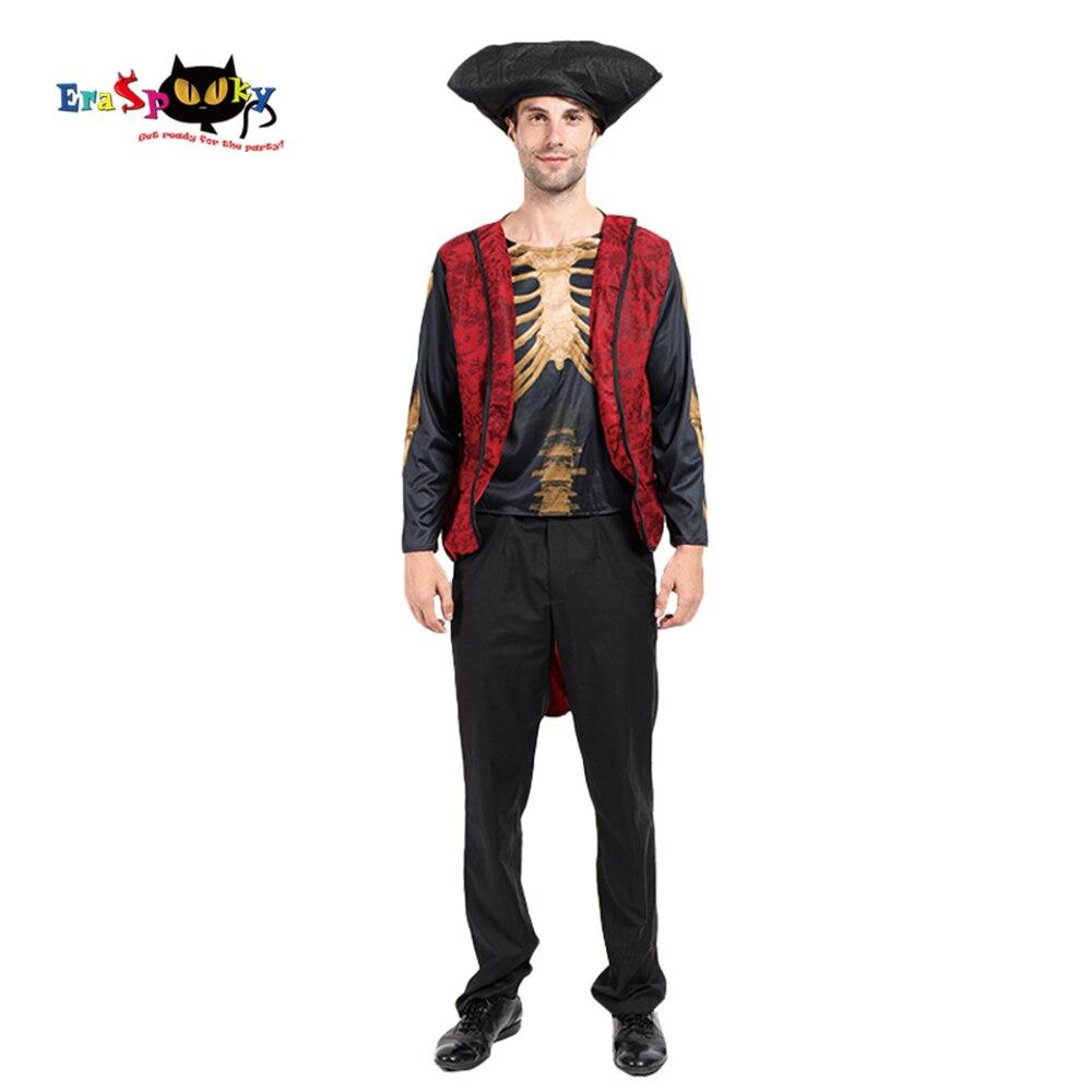 Eraspooky 2019 estampado 3D esqueleto hombre pirata Cosplay Halloween fiesta disfraz para adulto cráneo Jack Sparrow sombrero de manga larga camisa