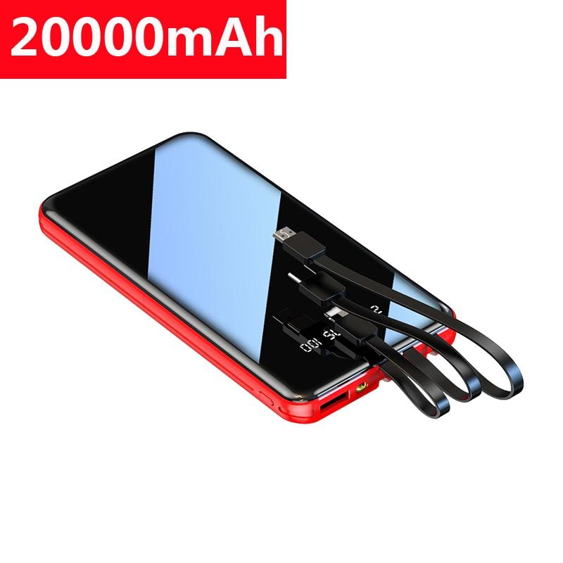 20000 mah banco de potência portátil para xiaomi mi iphone pover banco espelho tela carregamento rápido powerbank bateria externa poverbank