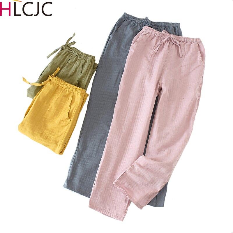 2020 nuevos pantalones para dormir de primavera para mujer, cómodos y frescos, 100%, de gasa de algodón, para el hogar, para hombres, amantes, pijamas, pantalones para parejas, para mujeres