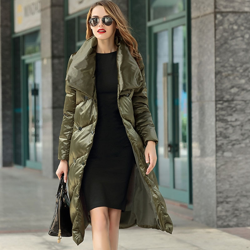Women down coats luxury autumn winter warm fashion army 90% white duck down Jackets Female lady long puffer hooded casual