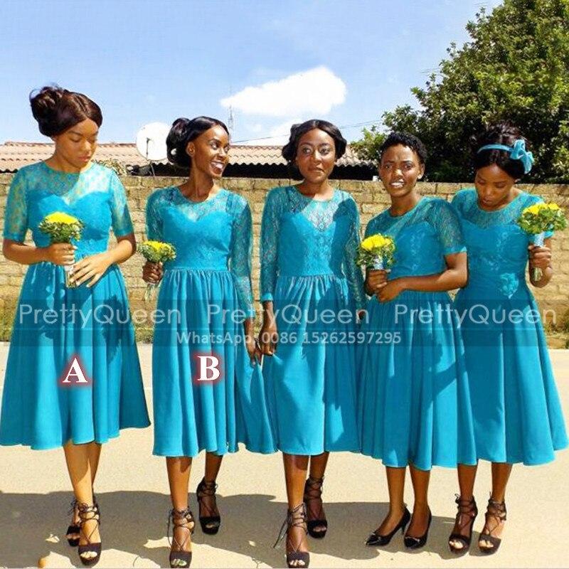 فستان إشبينة العروس قصير من الدانتيل باللون الأزرق السماوي ، خط ، أكمام طويلة ، ياقة شفافة ، طول الركبة ، لحفل الزفاف ، 2021