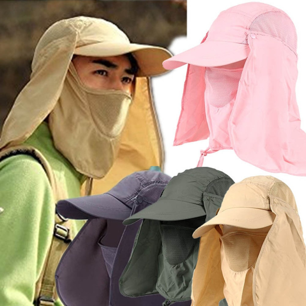 Outdoor Sun Hat UV Protection Ear Flap Neck Cover Fishing Hunting Hiking Cap Unisex Leisure Hat outdoor sport hiking camping visor hat uv protection face neck cover fishing sun protcet cap