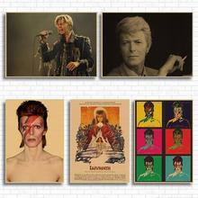 David Bowie Vintage Retro rock band music Guitar Matte Kraft Paper Antique Poster Wall Sticker Home Decora