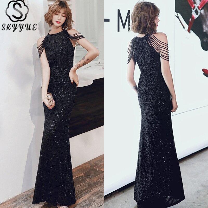 Vestido Formal con lentejuelas Skyyue cuello Halter vestido de noche sin mangas hasta el suelo para mujer vestido de noche con cuentas de talla grande K035