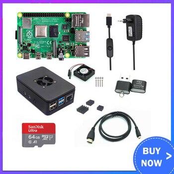 Raspberry Pi 4 modèle B 2/4 go de RAM + boîtier + ventilateur + dissipateur thermique + adaptateur secteur + carte SD 32/64 go + câble compatible HDMI pour RPI 4B