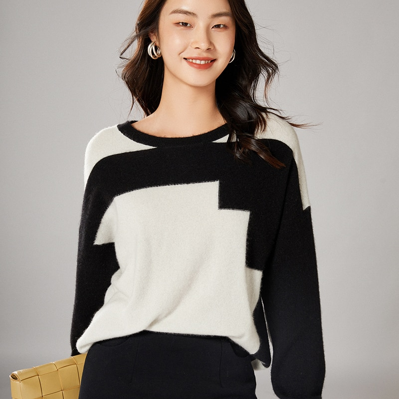 adohon 2021 woman winter Cashmere sweaters knitted Pullovers jumper Warm Female O-neck blouse Patchwork long sleeve clothing enlarge