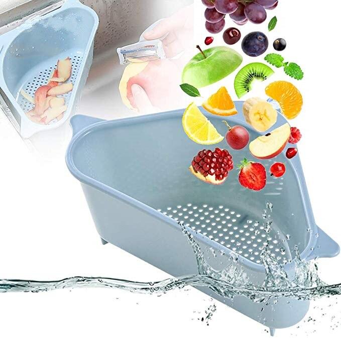 Colador Triangular para fregadero de cocina, escurridor de frutas y verduras, cesta de succión, estante de esponja para almacenamiento, estante de filtro para fregadero