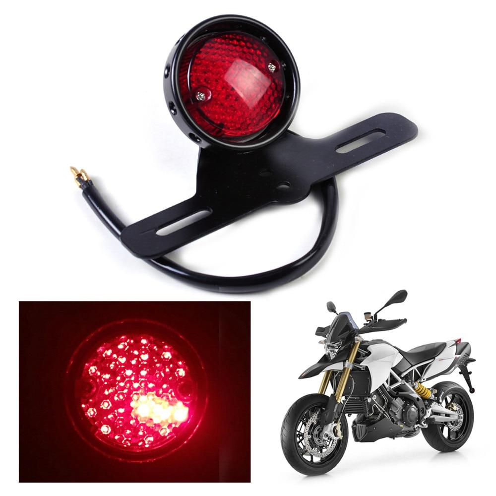Motorcycle LED Retro Red Rear Tail Brake Stop Light Lamp W/ License Plate Mount for Harley Honda Suzuki Chopper Bobber