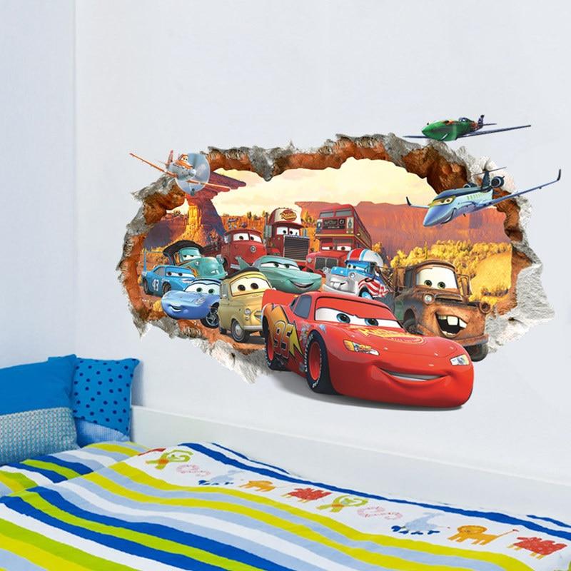 Дисней игрушки наклейки 3D Дисней Тачки Молния Маккуин настенные наклейки окна домашний Декор Гостиная мультфильм ПВХ Наклейки на стены подарки