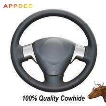 APPDEE Black Genuine Leather Car Steering Wheel Cover for Toyota Corolla 2009-2013 Matrix 2009-2010 Auris 2007-2009