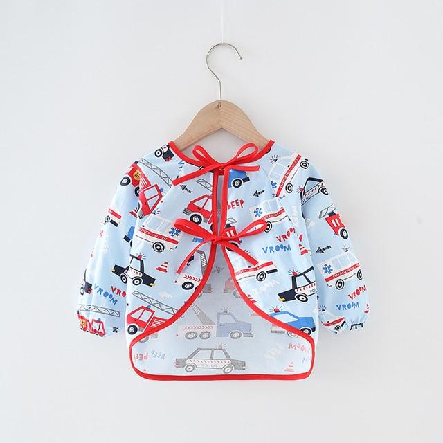 Baby Kids Toddler Long Sleeve Scarf Waterproof Art Smock Feeding Bib Apron Pocket Infant Boys Girls Burp Cloth Banana Bibs 8