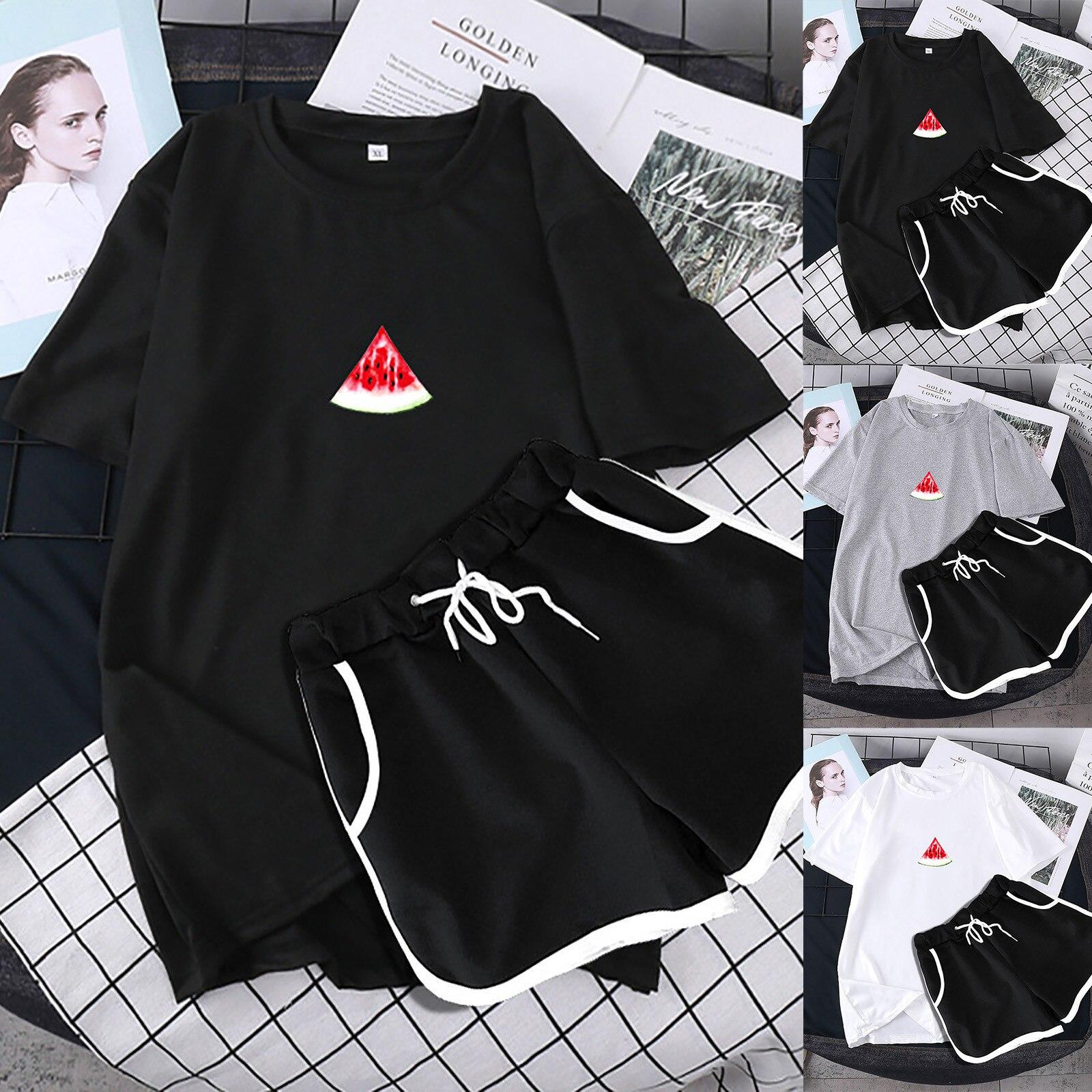 ISHOWTIENDA Women Two Piece Drop Sleeves Set Short Sleeve O-neck Paneled T Shirt Shorts Спортивные Костюмы Женс Women Set