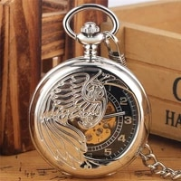 retro silver hollow phoenix automatic mechanical self wind pocket watch arabic number dial fob pendant chain watches clock gift