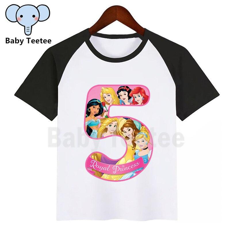 Meninas meninos real princesa aniversário número dos desenhos animados t camisa crianças nome manga curta camiseta número 1-9 camiseta crianças topo