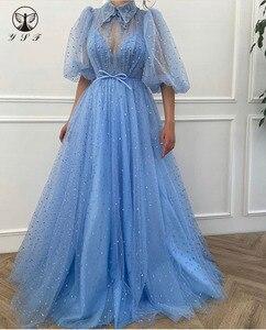 Muslim Prom Dresses Pleated Half Sleeve Lace A Line Floor Length Blue Vestidos De Formature