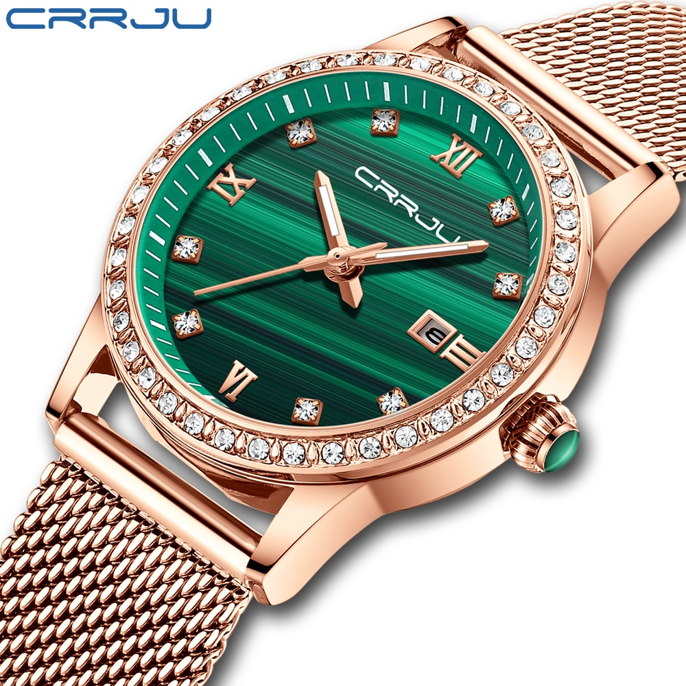 CRRJU Watch Women Stainless Steel Quartz Watches Lady Top Brand Luxury Fashion Clock Simple Wrist Wa