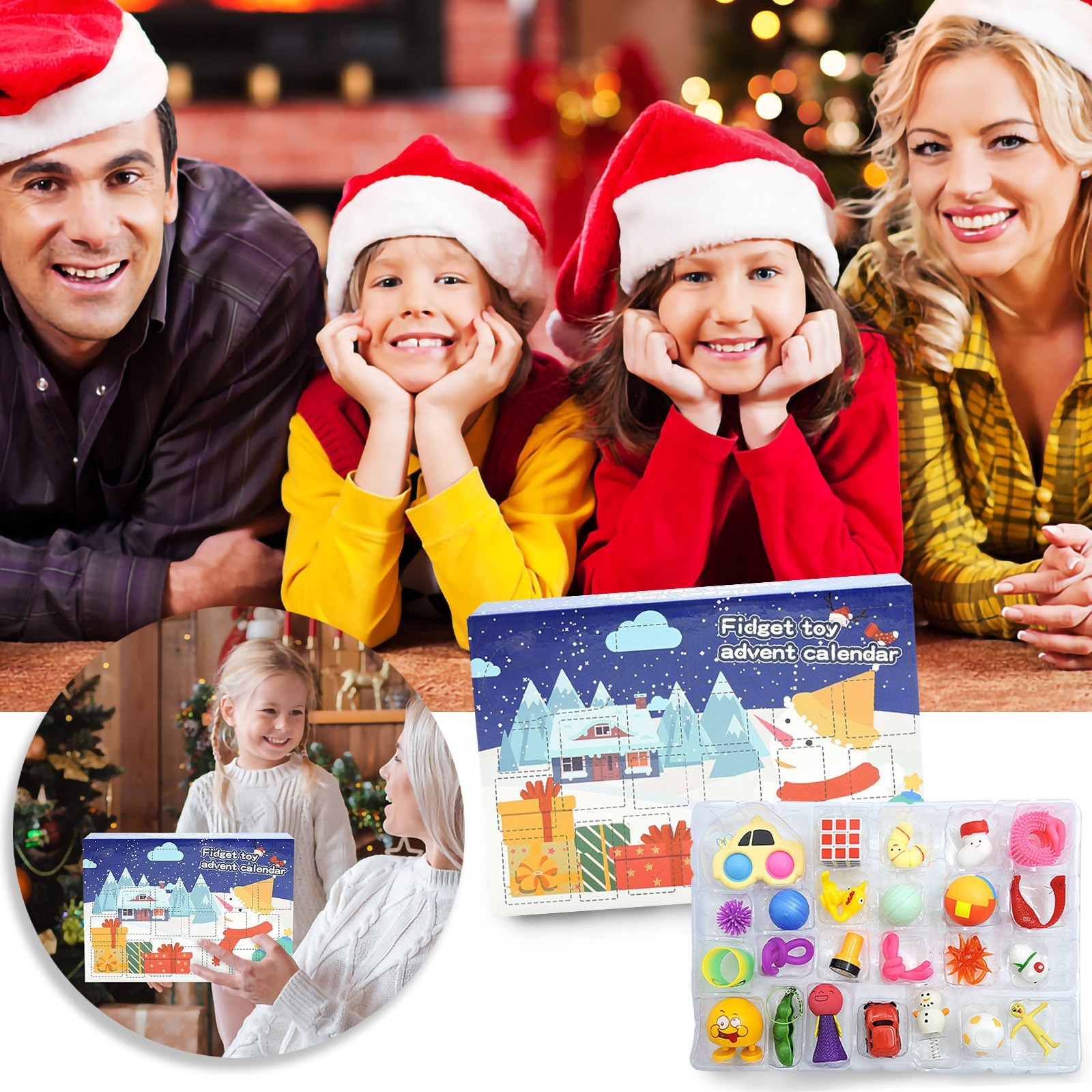 Pops Its Fidget Toys Pack New Popper Christmas Calendar Countdown Blind Box Surprise Demolition And
