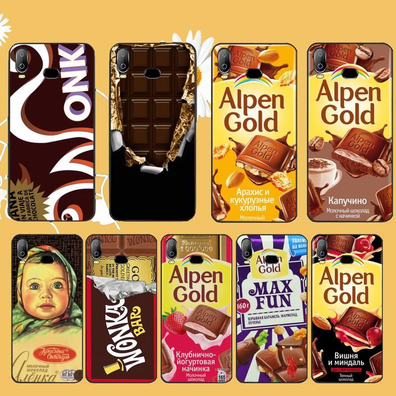 CUTEWANAN Wonka barre avec billet dor Alpen or chocolat étui de téléphone pour Samsung A10 A20 A30 A40 A50 A70 A71 A51 A6 A8 2018