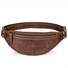 Rétro cuir de vachette sac de taille pour hommes en cuir véritable sac décontracté tendance pour hommes