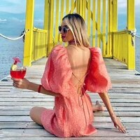 boho inspired pink dress for women puff sleeve adjustable back tie sexy party dress spring summer dress 2021 new ladies dress