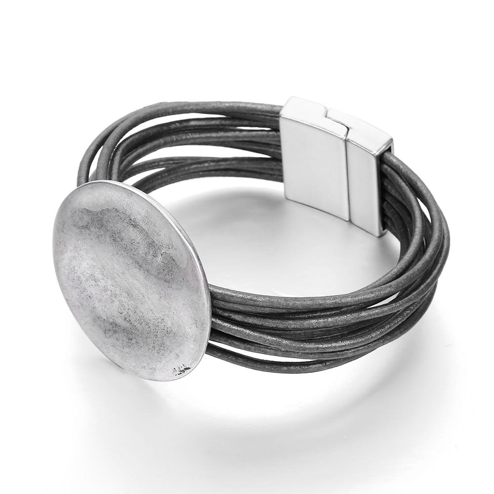 Pulsera de plata de la onda redonda del encanto para las mujeres multicapa cadenas de cuero del diseño de la hebilla magnética joyería de la vendimia de la manera 2019