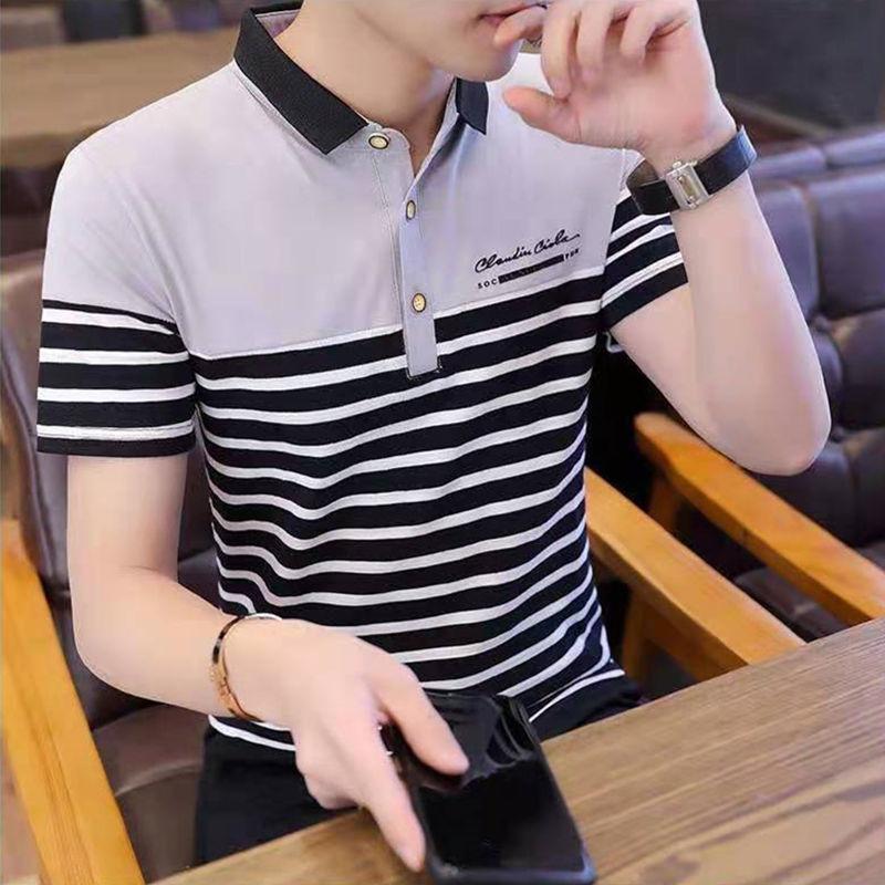 2021 Summer New Korean Version Lapel Cotton Trend Stripe Fashion Men's Polo Shirt Leisure Travel Party Youth Top  B007