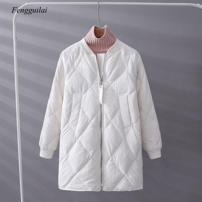 Winter Women White Parka Ultra Light Loose Zipper Baseball Uniform Jacket Female Casual Long Outwear