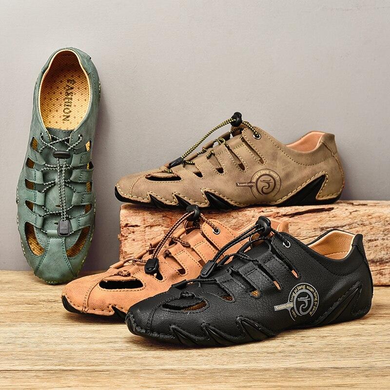 2021 الصيف جلد طبيعي أحذية ماء الرجال سريعة الجافة أحذية الشاطئ عدم الانزلاق في الهواء الطلق الصنادل الذكور أكوا الصنادل Zapatos دي Hombre