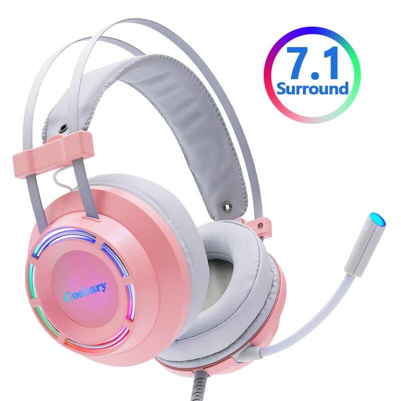 الوردي سماعات الألعاب سماعة السلكية مع ميكروفون المهنية ألعاب 7.1 المحيطي الصوت RGB ضوء ل PC الكمبيوتر Xbox One