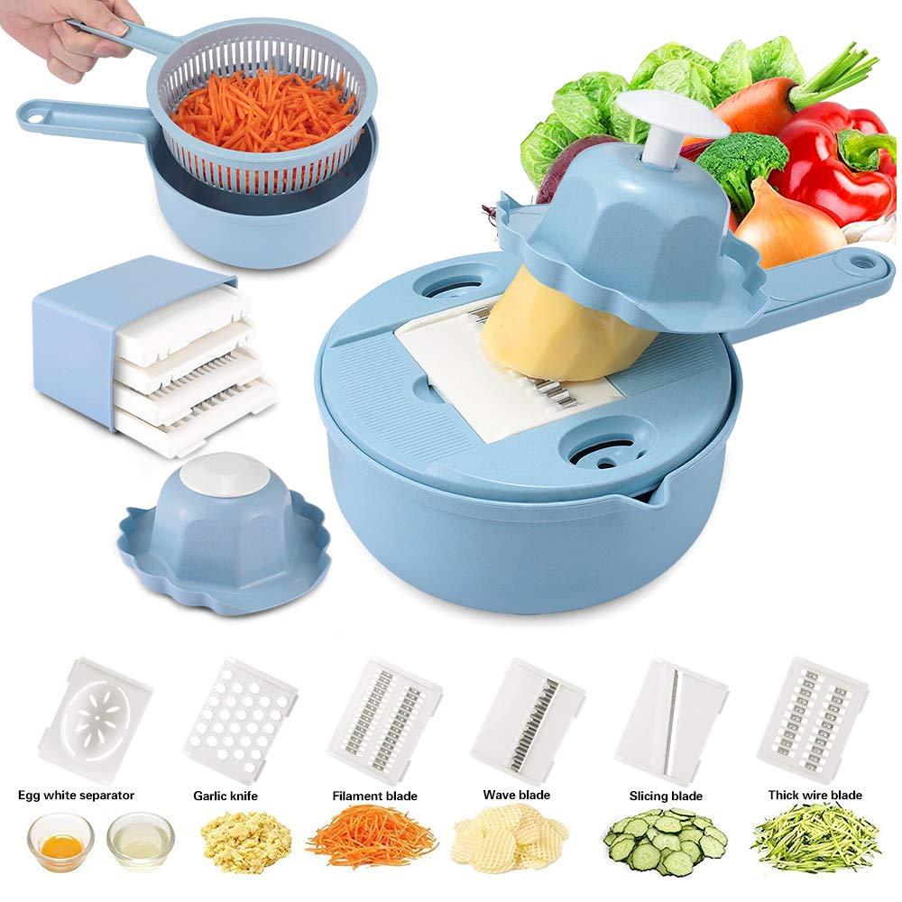 LMETJMA 10 en 1 cortador de verduras rebanador de mandolina paja de trigo Veggie Spiralizer cortador con separador de huevo blanco KC0286