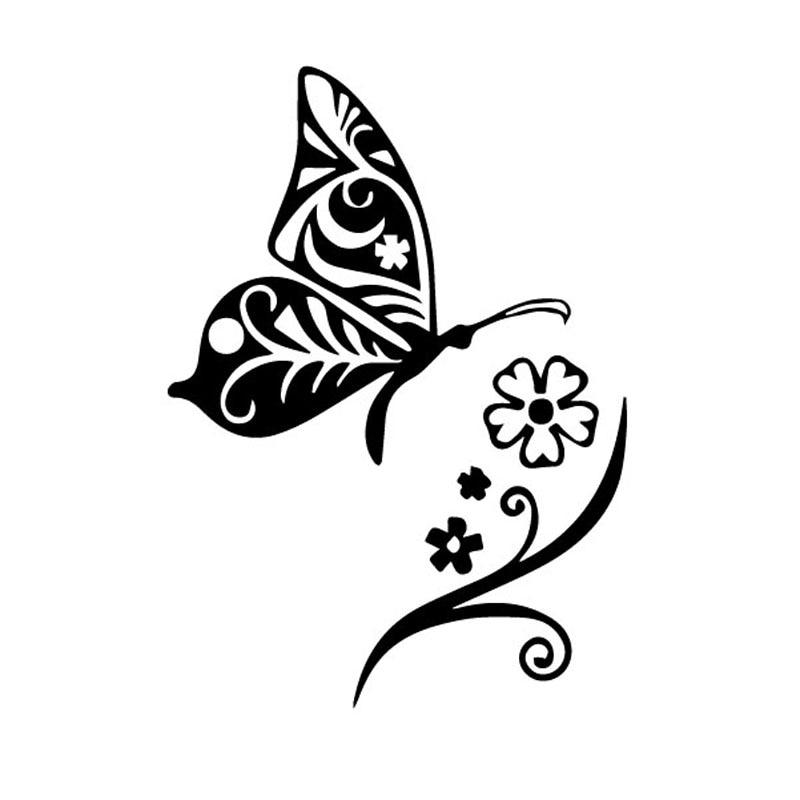 Автомобильный стикер красивая бабочка завод дизайн черный/Серебряный ПВХ Водонепроницаемый и солнцезащитные наклейки 9 см * 12,4 см