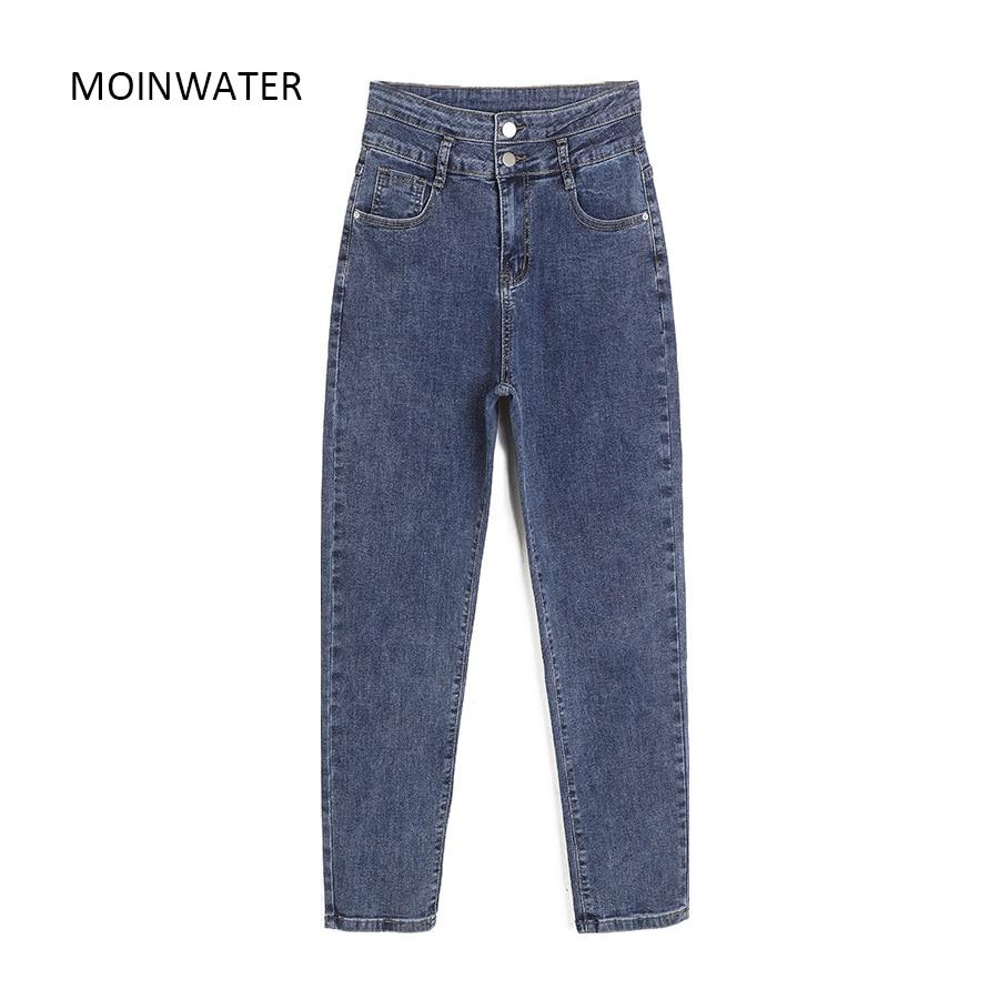 MOINWATER-بنطلون جينز نسائي أزرق عالي الخصر ، بنطلون حريم ، MP2013
