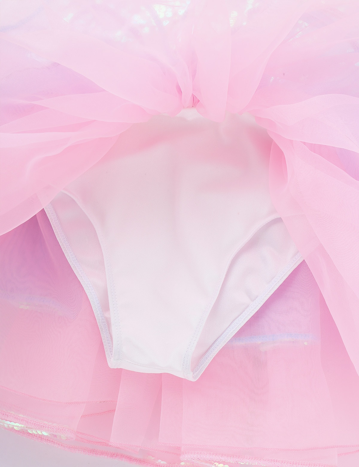 Kids Girls Shiny Sequins Bowknot Mesh Splice Dancewear Ballet Gymnastics Leotard Tutu Ballet Dress Performance Competition Dress