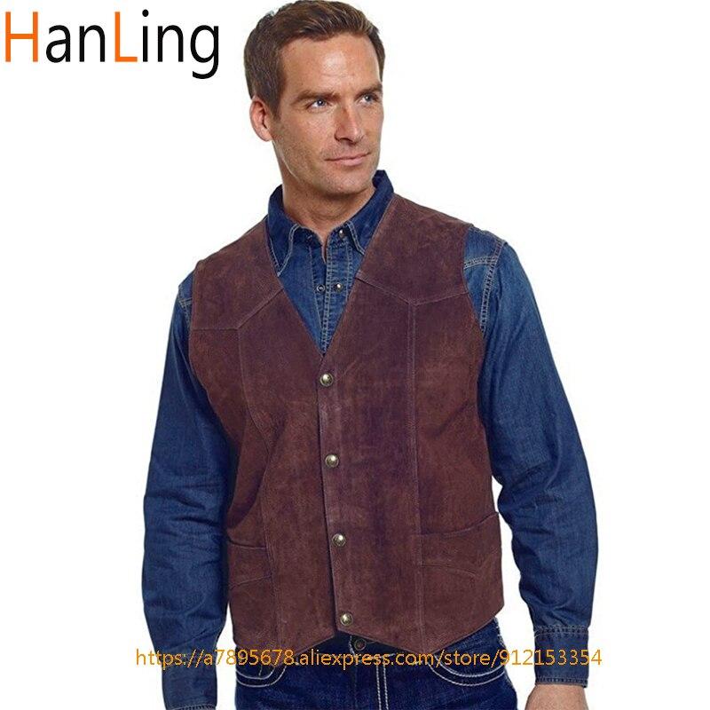 Мужская классическая замшевая безрукавка в стиле панк, летняя джинсовая куртка в западном стиле, жилетка