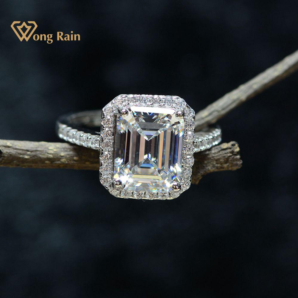 ¡Venta al por mayor! Anillo de diamantes de cóctel de boda de compromiso con piedras preciosas de moissanita de Wong Rain 100% Plata de Ley 925