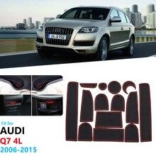 For Audi Q7 4L 2006~2015 S line Logo Anti-Slip Rubber Gate Slot Cup Mat 2007 2008 2009 2010 2011 2012 2013 2014 Car Accessories
