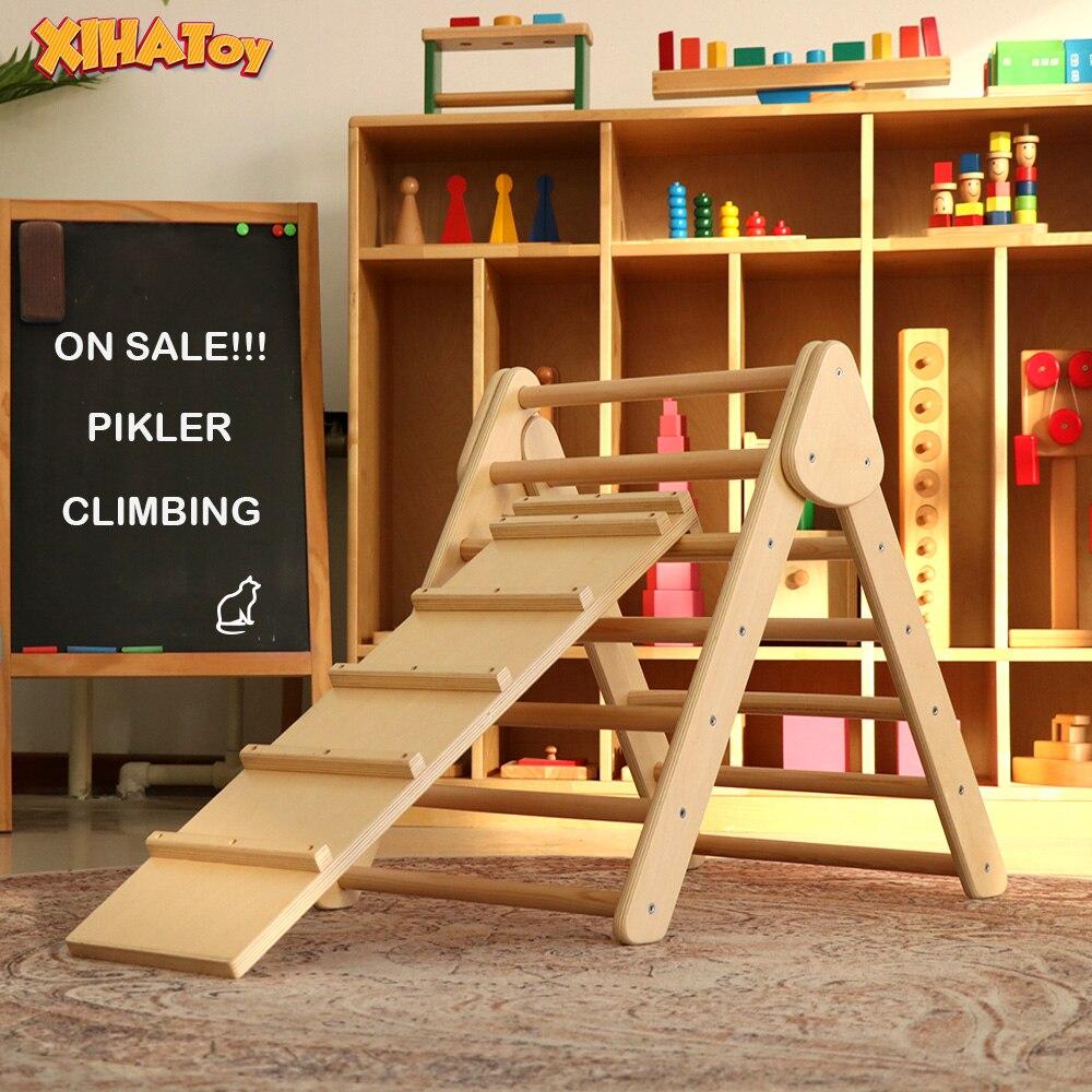 XIHATOY 3 قطعة مجموعة تسلق إطار خشبي مكعب للأطفال ملعب بيكلر مثلث قوس لعبة داخلية التوازن