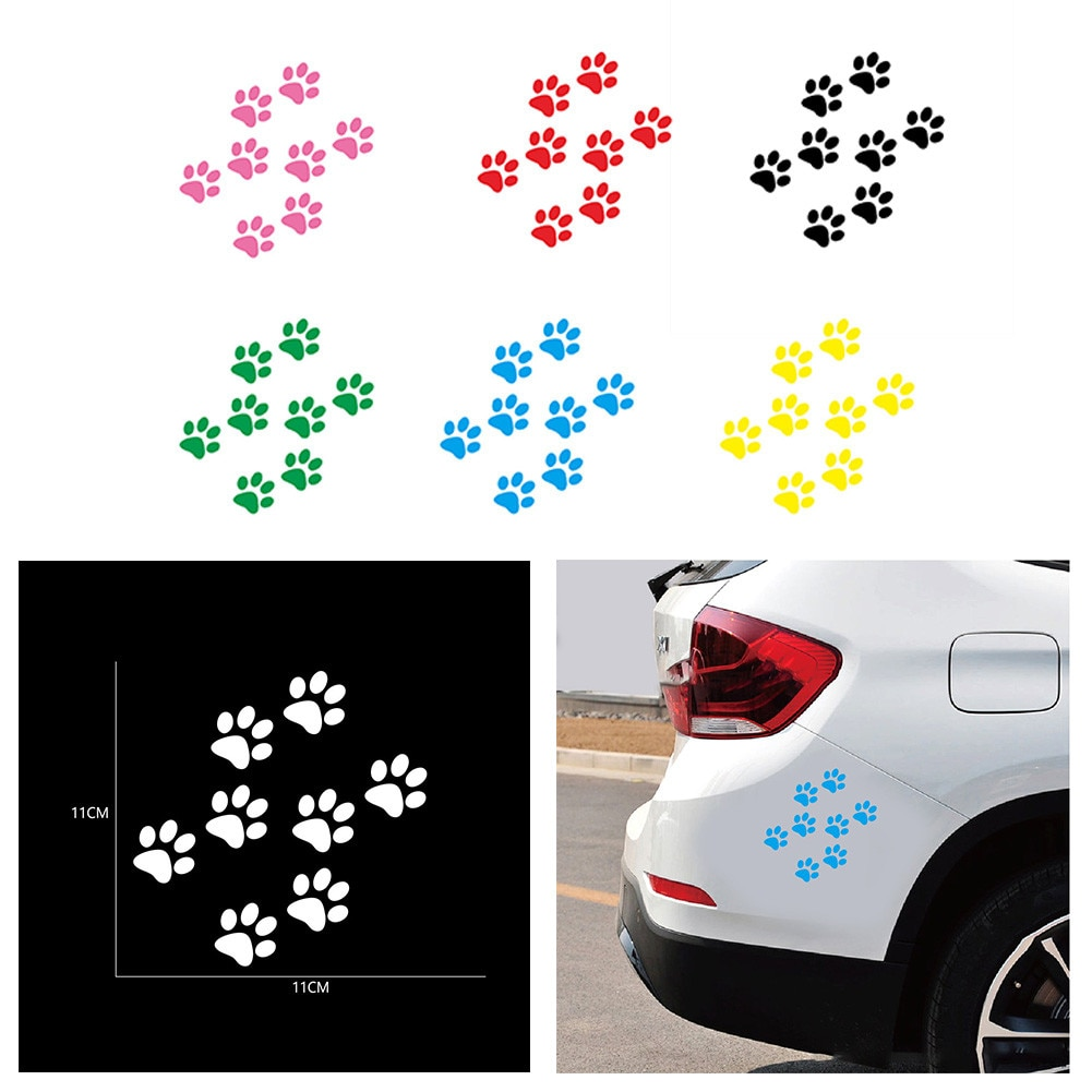 Автомобильные наклейки и наклейки, лапа, 3D Животные, собака, кот, медведь, нога, наклейки для автомобиля, зеленые, красные, черные, белые, розо...