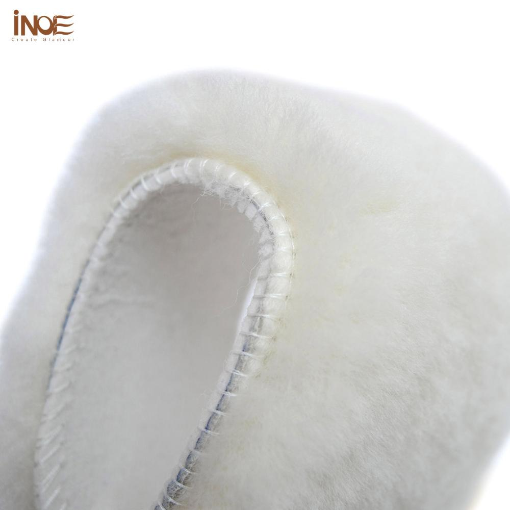 INOE Real Sheep Fur Insole 16mm Length Natural Wool Fur Warm Winter Insole Shoes Pad High Quality Wh